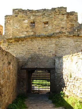 Вход на хозяйственный двор. Решетка без замков, поднимается на петлях вверх